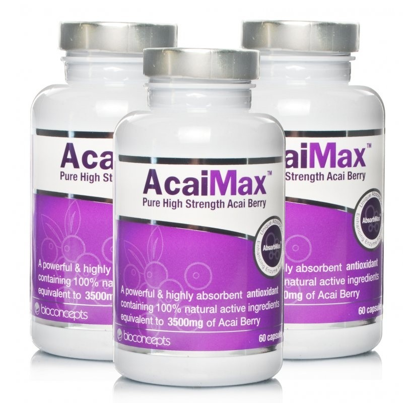 Stockists of AcaiMax Pure High Strength Acai Berry Triple Pack