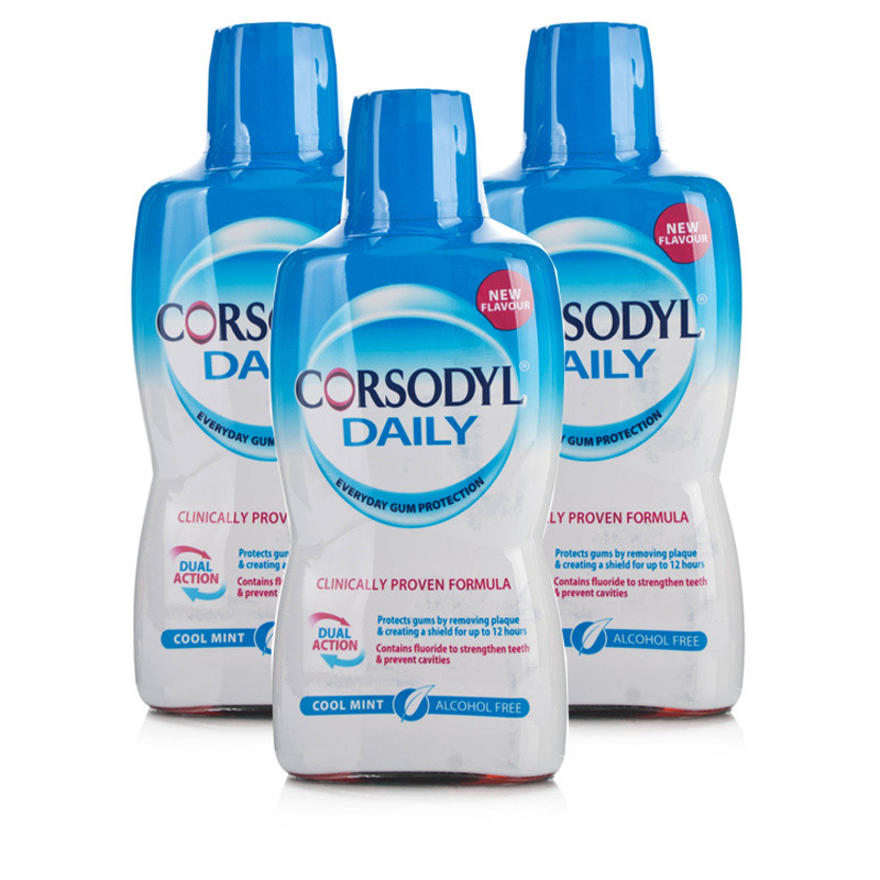 Corsodyl Daily Cool Mint Alcohol Free Mouthwash Triple Pack