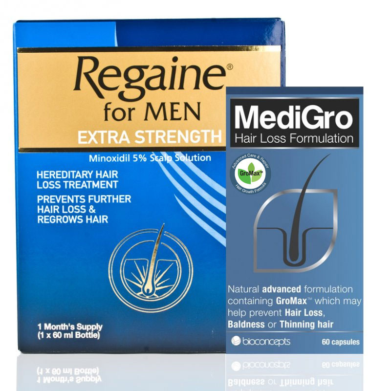 Regaine Extra Strength & MediGro Advanced Hair Supplement Treatment Pack For Men
