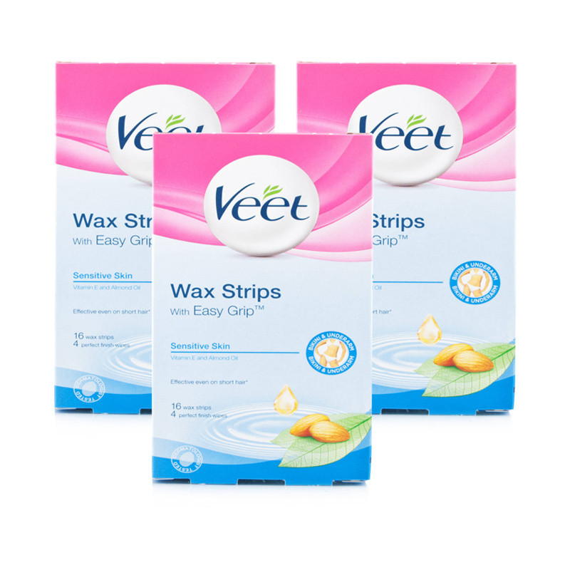 Veet Bikini & Underarm Wax Strips Sensitive Triple Pack
