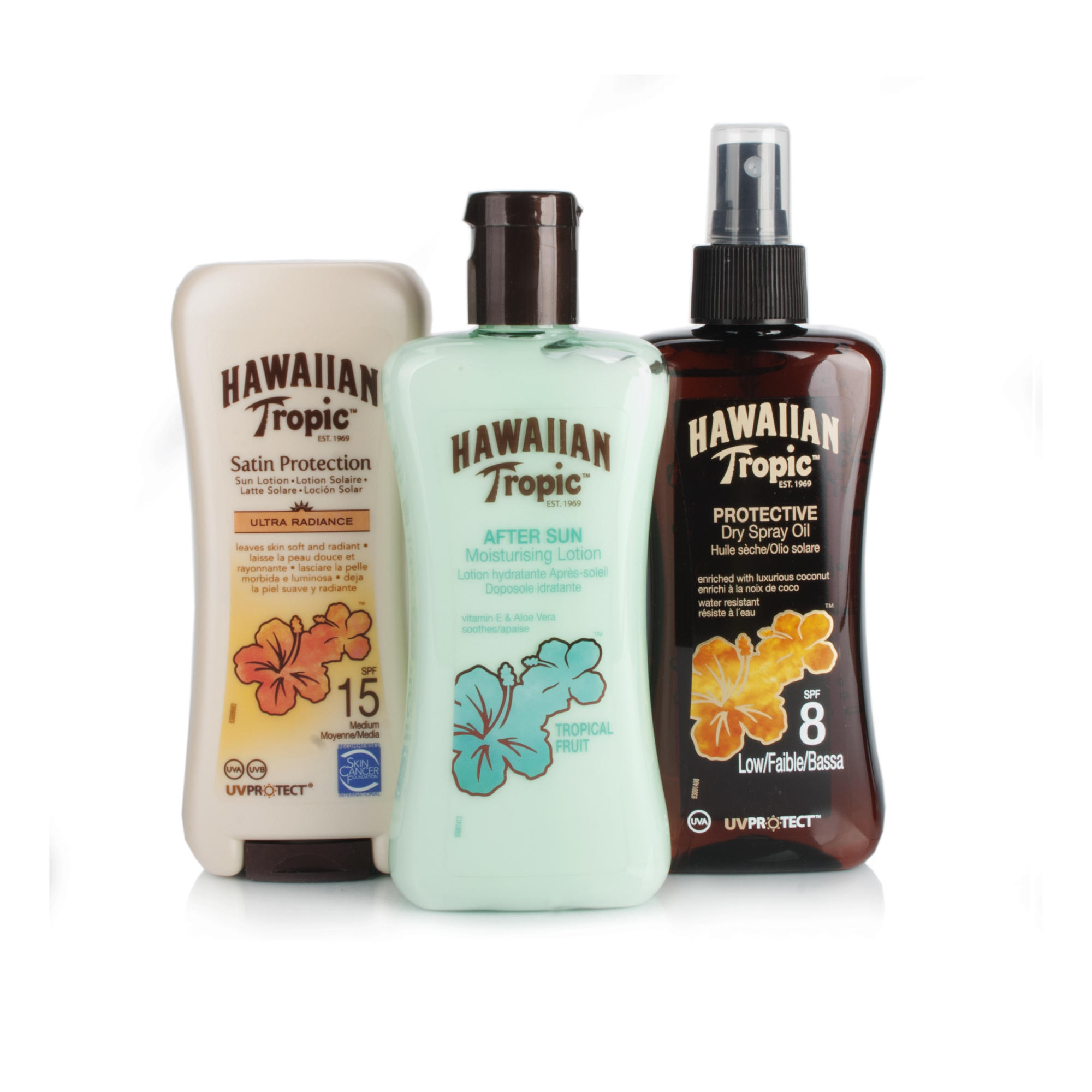 Hawaiian Tropic Protective Sun Lotion SPF15Protective Dry Oil SPF8Aftersun Moisturising Lotion