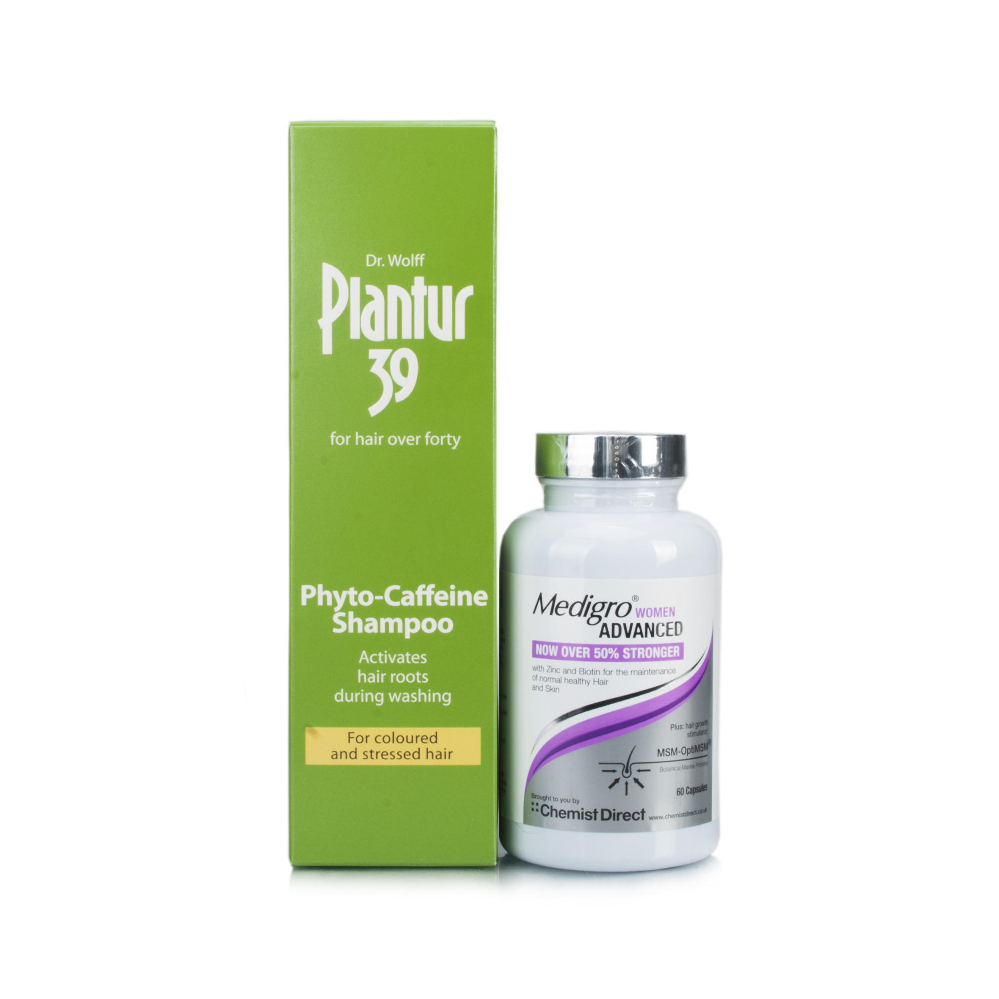 Plantur 39 Caffeine Shampoo For Coloured Hair & Medigro Advanced Supplement for Women Pack