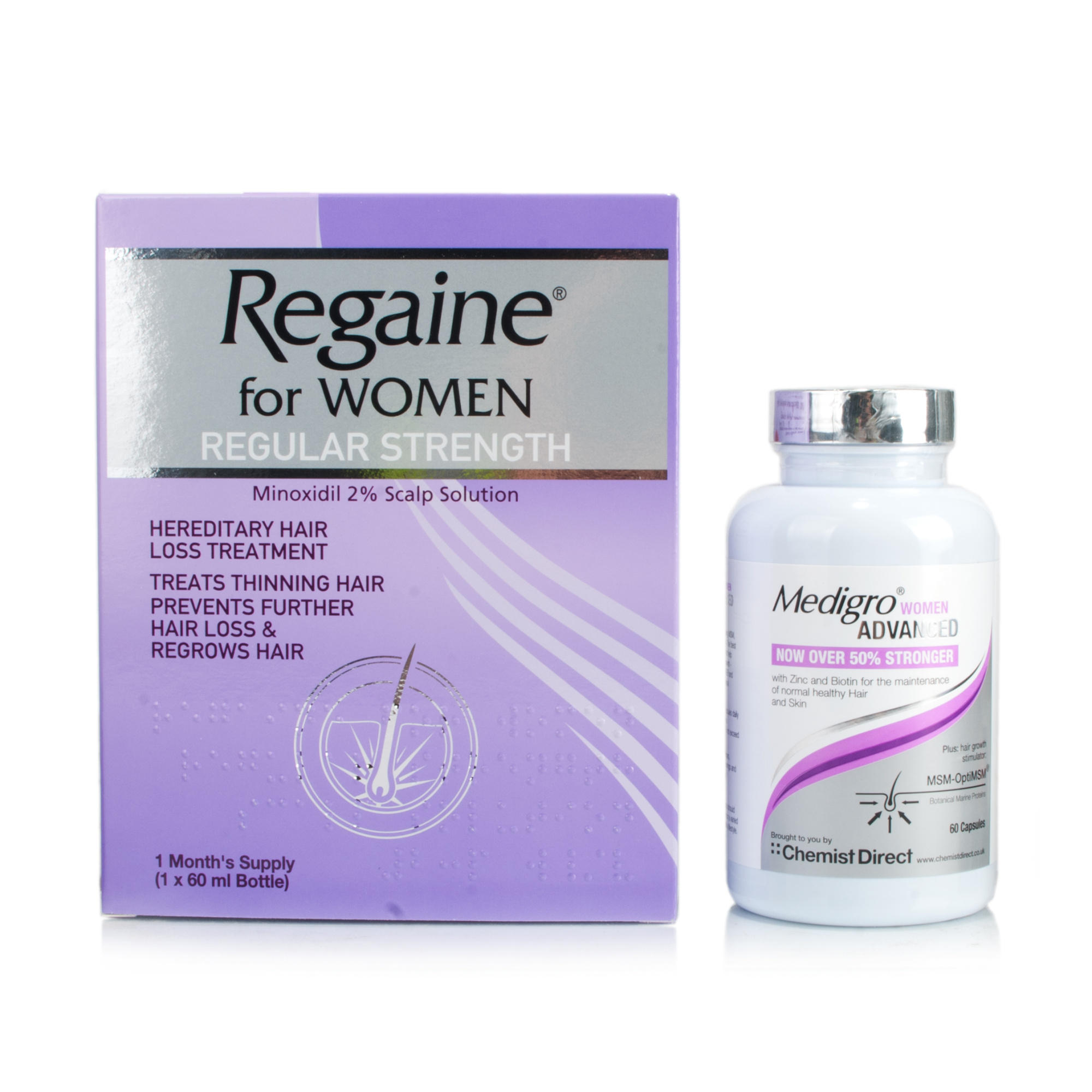 Regaine For Women & MediGro Advanced Hair Supplement Treatment for Women Pack