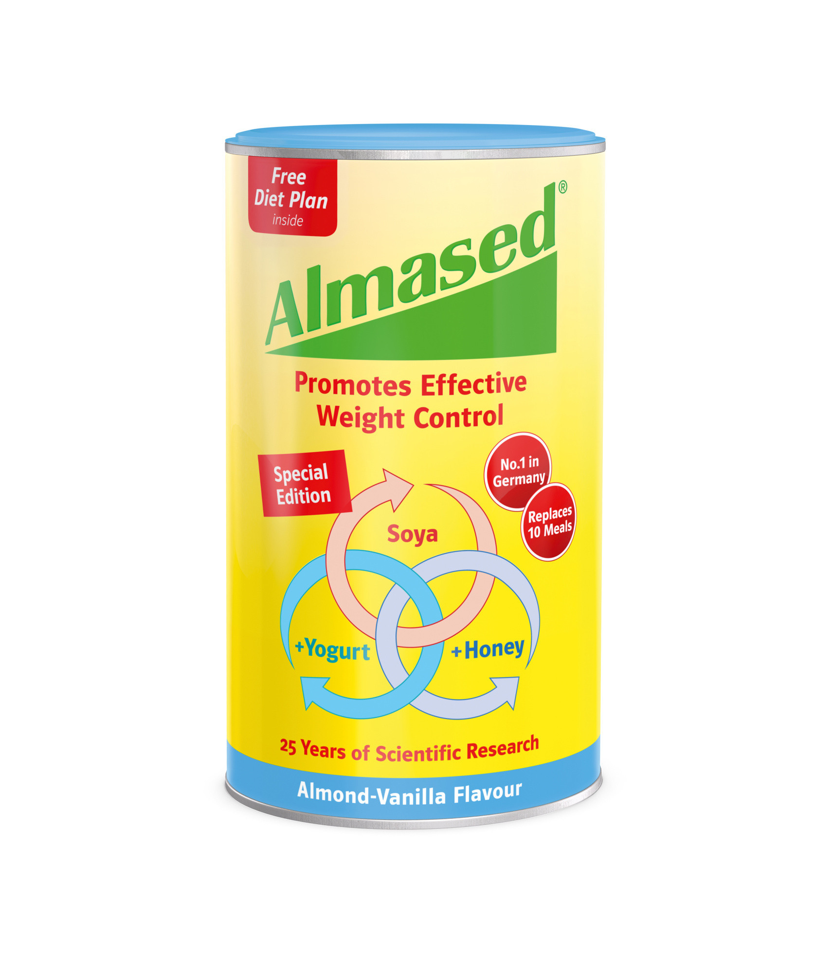 Almased Soya Yogurt and Honey Meal Replacment. Almond Vanilla Flavour