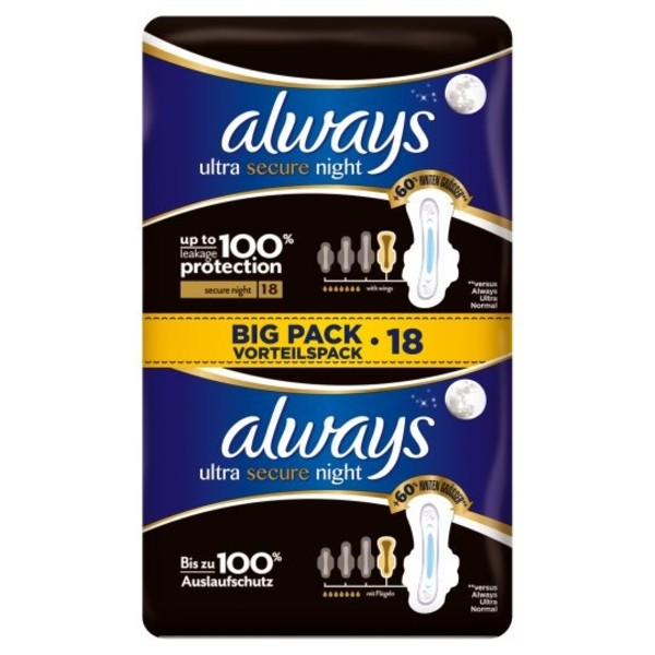 Always Ultra Secure Night 18 Pack