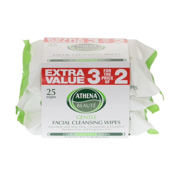 Athena Face Wipes Sensitive 25 Wipes x 3