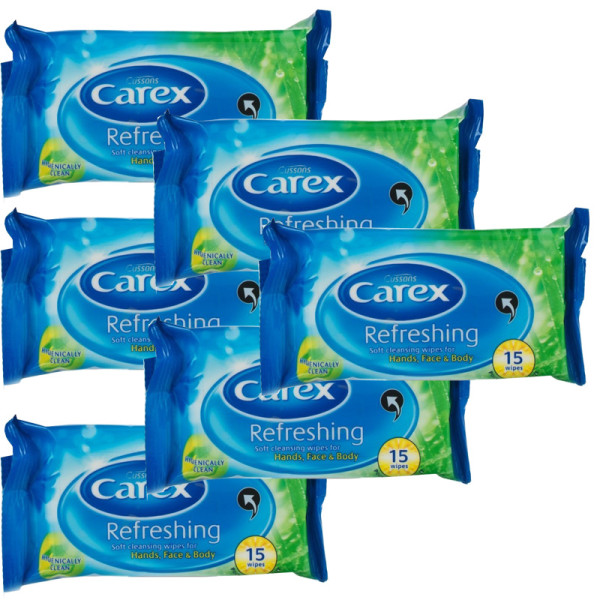 Carex Refreshing Soft Cleansing Wipes - 6 Pack
