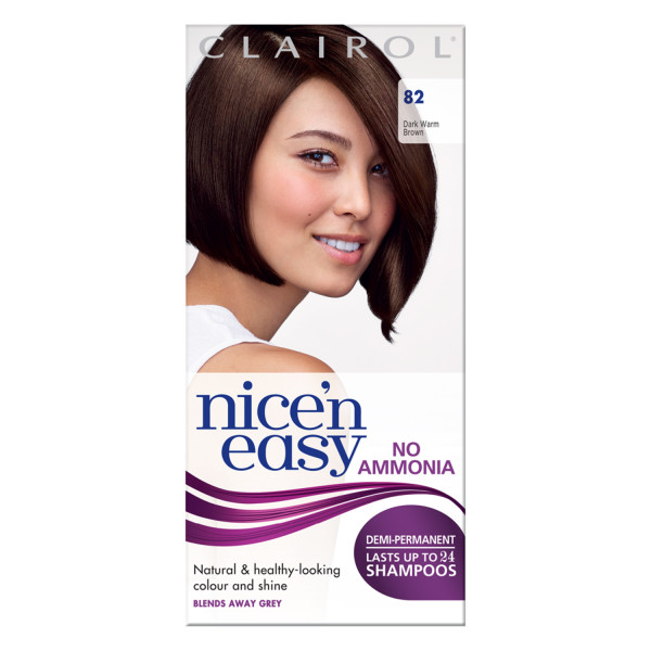 Clairol Nicen Easy No Ammonia Hair Dye, 82 Dark Warm Brown