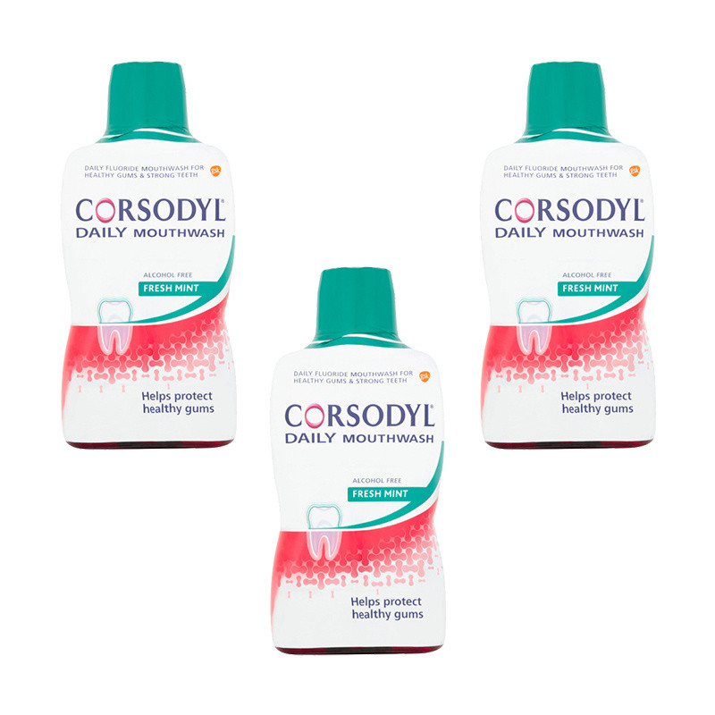 Corsodyl Daily Fresh Mint Gum Care Mouthwash Triple Pack