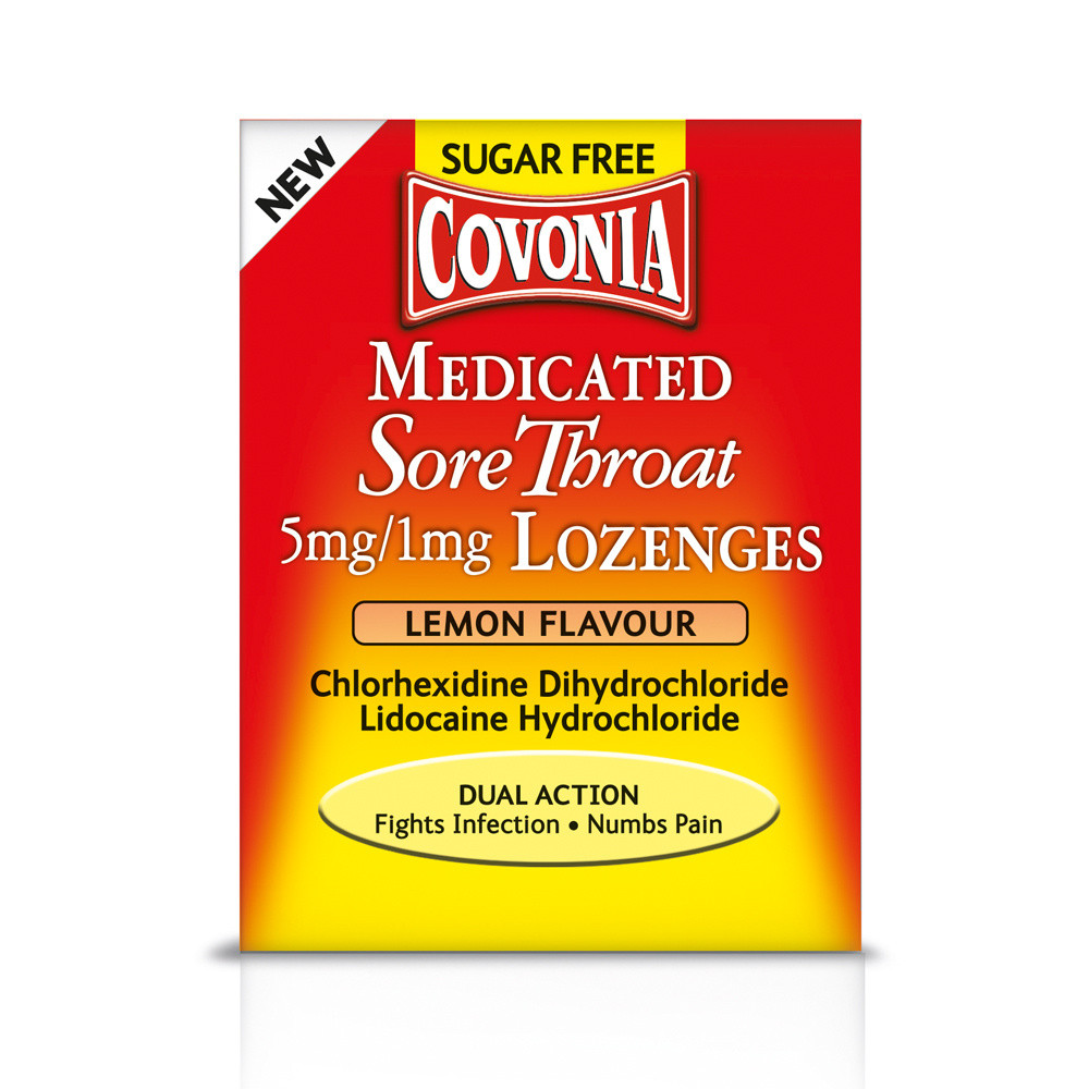 Covonia Medicated Sore Throat 5mg/1mg Lozenges Lemon Flavour