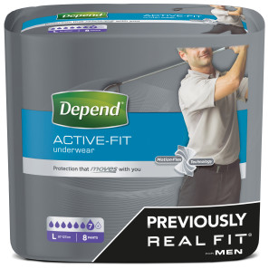 Depend Active Fit Underwear for Men - Large x8 Pairs
