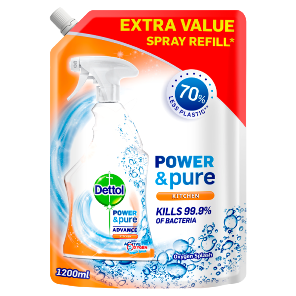 Dettol Power & Pure Advance Kitchen Oxygen Splash Spray Refill 1200ML