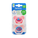 Dr Browns Prevent Soother 0-6 Month Pink Twin Pack