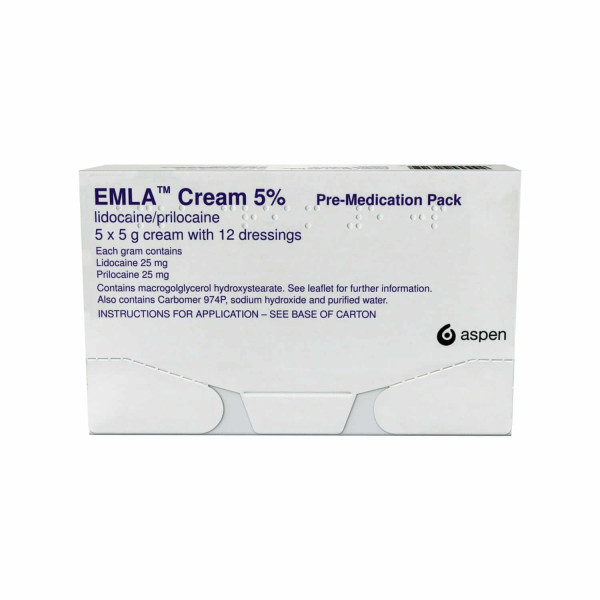 Emla Cream 5x5g Tubes with 12 Dressings