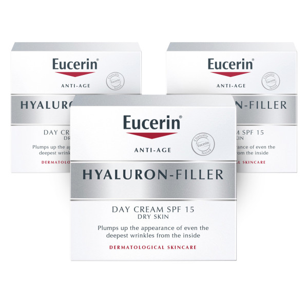 Eucerin Hyaluron-Filler Day Cream for Dry Skin SPF15 - 3 Pack