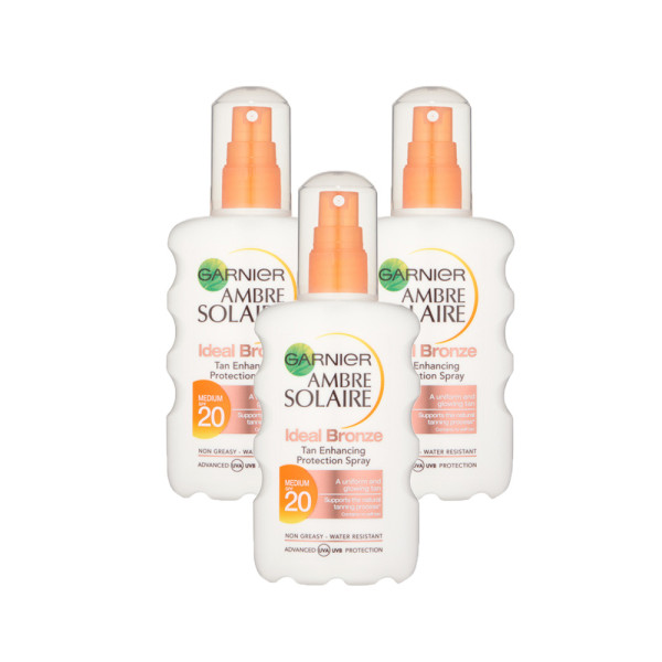 Garnier Ambre Solaire Ideal Bronze Tan Spray SPF20 Triple Pack