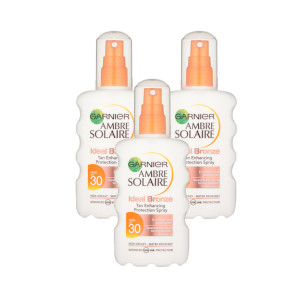 Garnier Ambre Solaire Ideal Bronze Tan Spray SPF30 Triple Pack