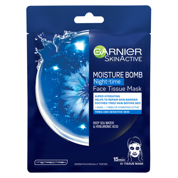 Garnier Moisture Bomb Tissue Mask Hyaluronic Acid & Deep Sea Water Tissue Face Sheet Mask Night