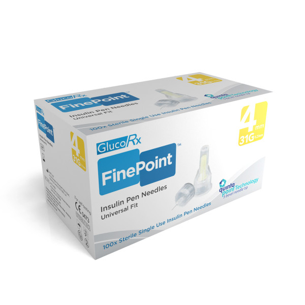 GlucoRx Finepoint Pen Needles 4mm 31g