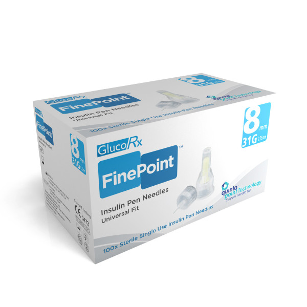 GlucoRx Finepoint Pen Needles 8mm 31g