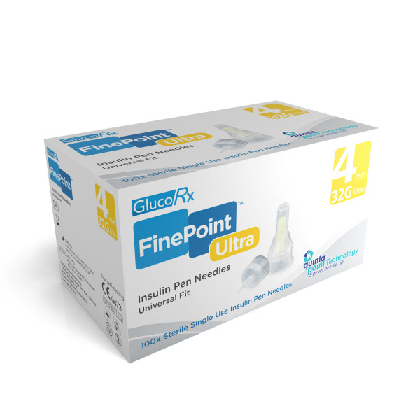 GlucoRx Finepoint U. Pen Needles 4mm