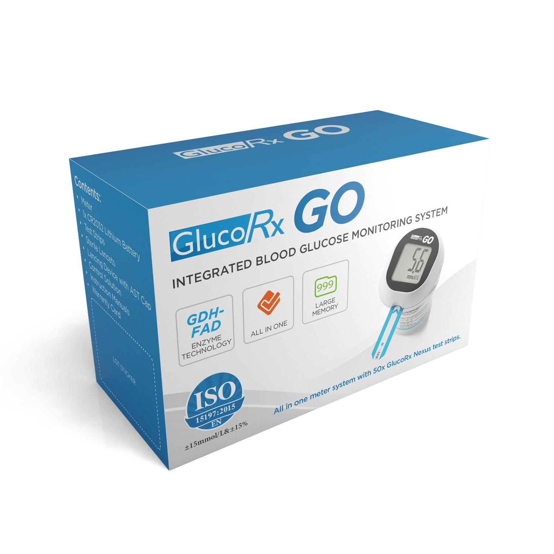 GlucoRx Go Blood Glucose Meter with 50 Test Strips
