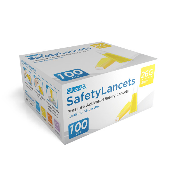 GlucoRx Safety Lancets 26g 1.8mm