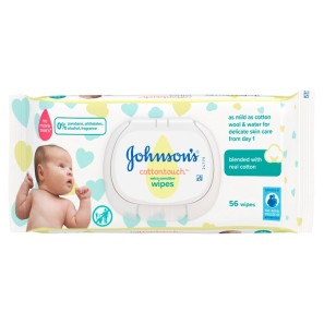 Johnsons Baby Cotton Touch Wipes 56 Pieces