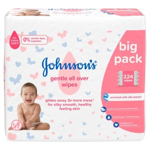 Johnsons Baby Gentle All Over 224 Wipes