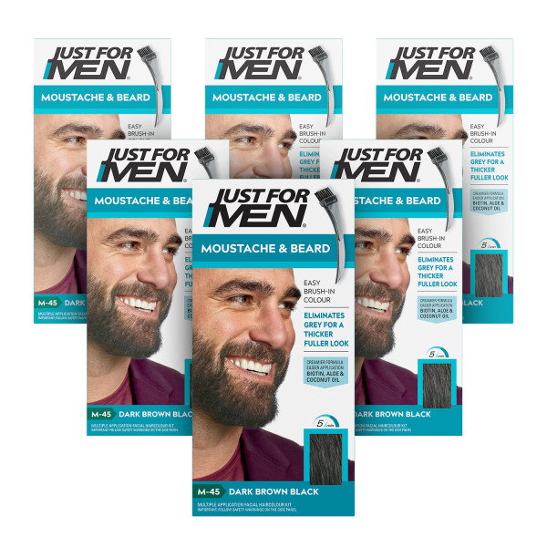 Just For Men Brush-In Facial Hair Colour Dark Brown/Black - 6 Pack
