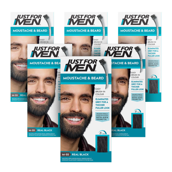 Just For Men Brush-In Facial Hair Colour Real Black - 6 Pack
