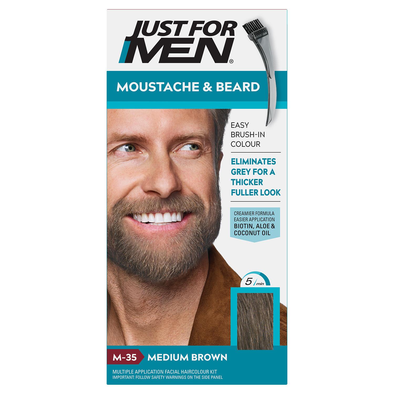 Just For Men Moustache & Beard Brush - In Colour - Medium Brown