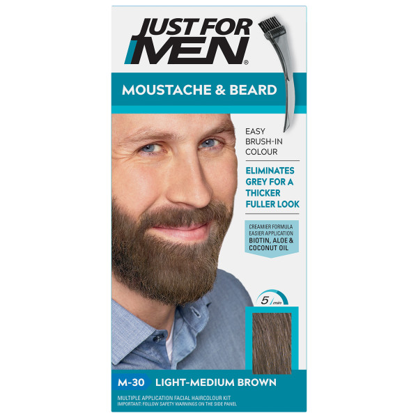 Just For Men Moustache & Beard Brush-In Colour - Light-Medium Brown