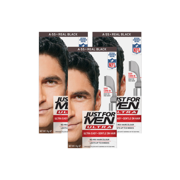 Just for Men Ultra Hair Colour 55 Real Black - Triple Pack