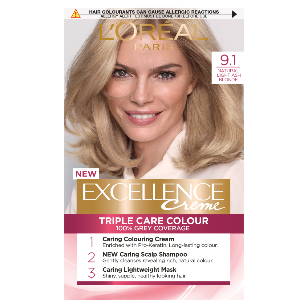 L'Oreal Paris Excellence Creme 9.1 Natural Light Ash Blonde Hair Dye