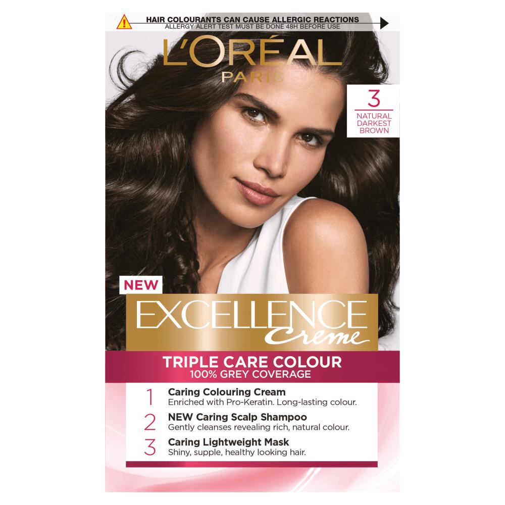 L'Oreal Paris Excellence Creme 3 Natural Darkest Brown Hair Dye