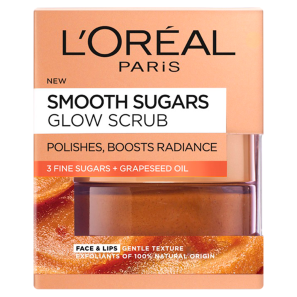 LOreal Paris Smooth Sugar Glow Grapeseed Face And Lip Scrub