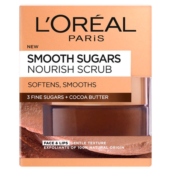LOreal Paris Smooth Sugar Nourish Cocoa Face and Lip Scrub