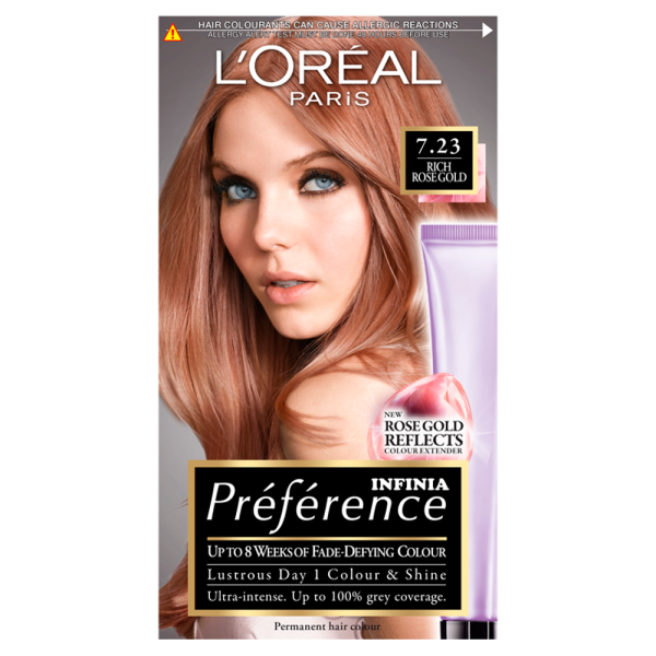 LOreal Paris Preference Infinia 7.23 Rich Rose Gold Hair Dye