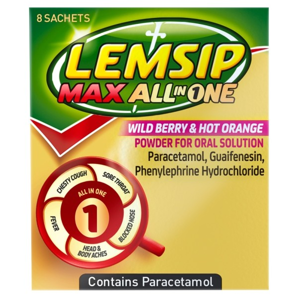 Lemsip Max All In One Drink Wild Berry & Hot Orange