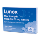 Lunox Max Strength Sleep Aid 50mg Tablets