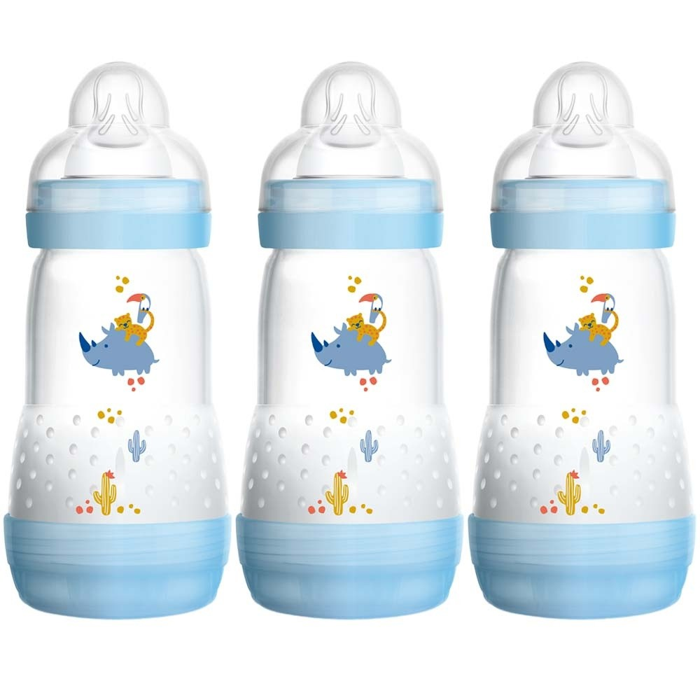 Click to view product details and reviews for Mam Self Sterilising Anti Colic Bottle 3 Pack Blue.