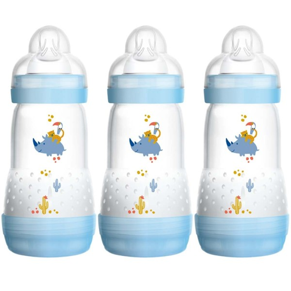 MAM Self Sterilising Anti-Colic Bottle 3 Pack Blue