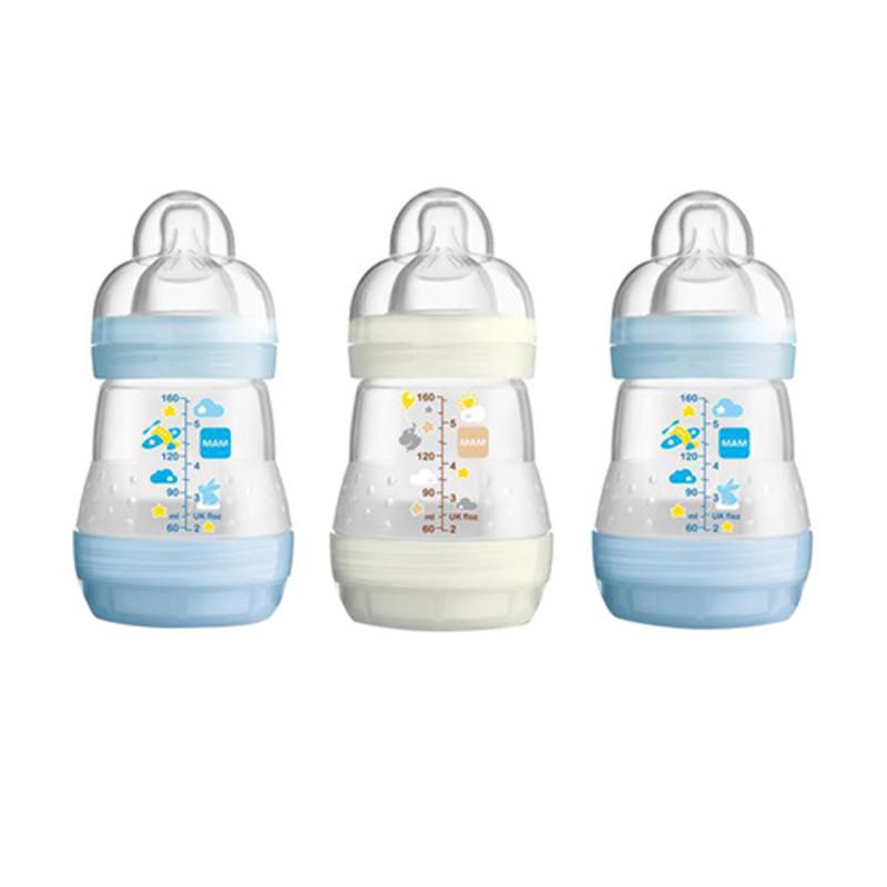 buy mam self sterilising anti colic bottle 3 pack blue 160ml x 3