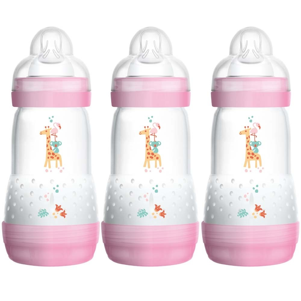 Click to view product details and reviews for Mam Self Sterilising Anti Colic Bottle 3 Pack Pink.