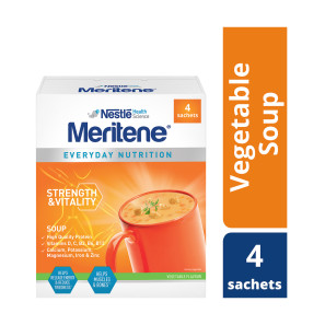 Meritene Strength and Vitality Vegetable Soup Sachets 50g Pack of 4