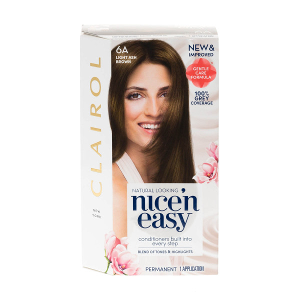 Clairol Nice n Easy Light Ash Brown Permanent Hair Dye Colour 6A