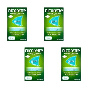 Nicorette Icy White Gum 2mg 105 Pieces Four Pack