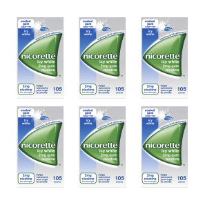 Nicorette Icy White Gum 2mg 105 Pieces Ten Pack