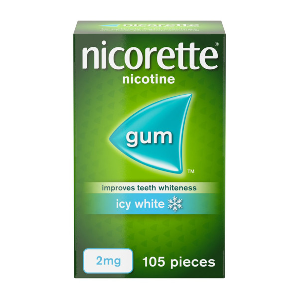 Nicorette Icy White Chewing Whitening Gum 2mg 105 Pieces